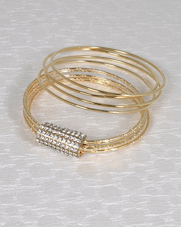 Solid & Textured W/Studded Detail Bracelet