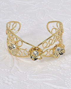 Floral Design Crystal Studded Open End Bracelet