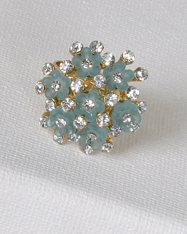 Floral Design Rhinestone Studded Adjustable Ring - Bara Jan Store