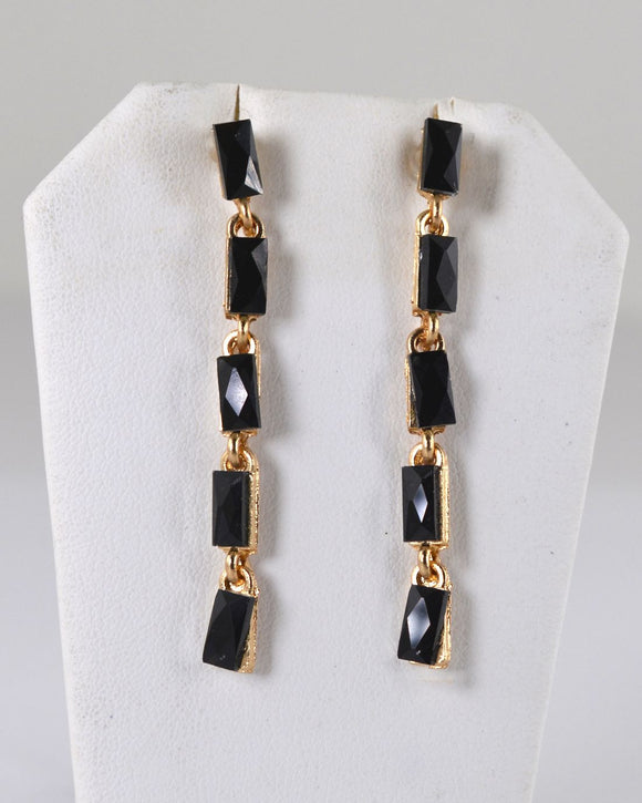 Square Shape Onyx Crystal Studded Drop Earrings - Bara Jan Store