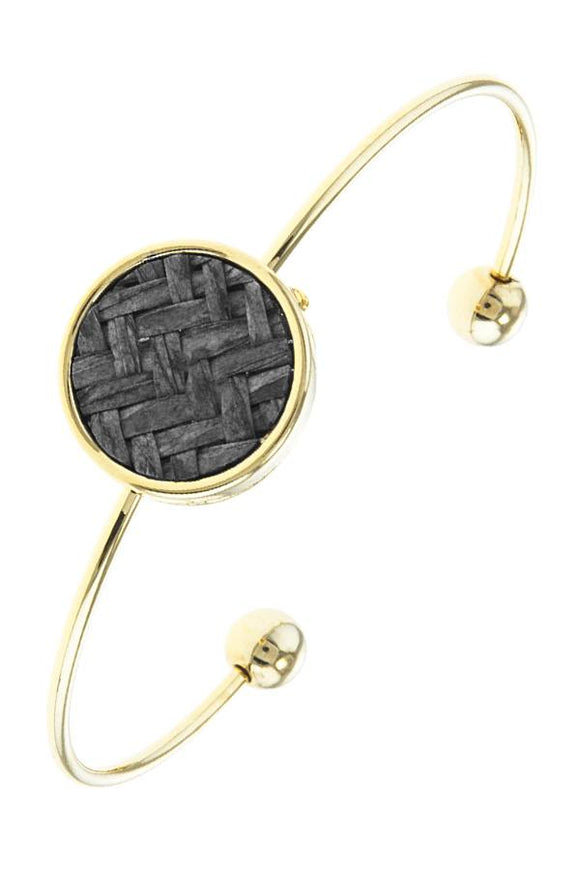 Zig zag patterned disk wire cuff bracelet - Bara Jan Store