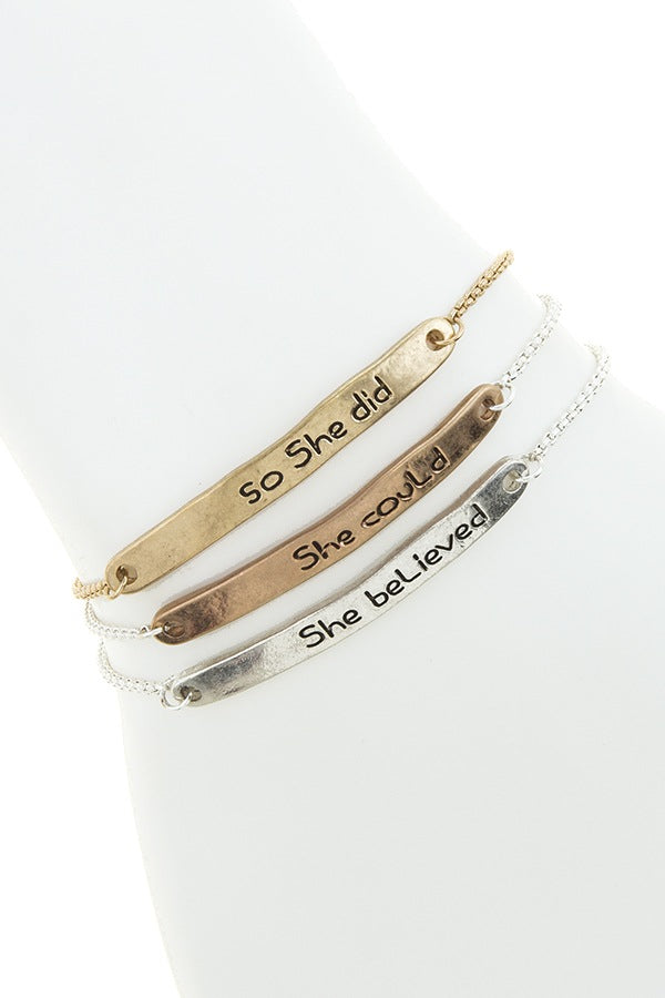 She believe she could bolo bracelet set - Bara Jan Store