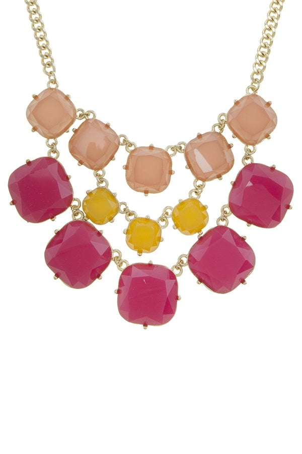 Three color layered faux stone statement necklace set - Bara Jan Store