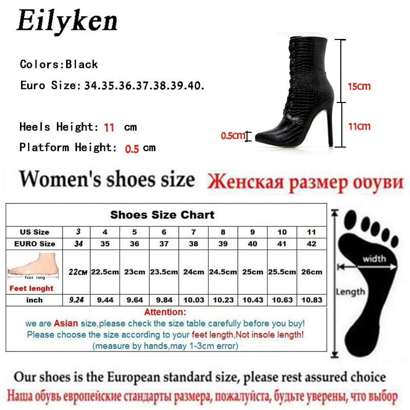 Eilyken Black Snakeskin grain Ankle Boots For Women High heels Pointed toe Ladies Boots 2018 New Sexy Lace-Up Boots Size 35-42