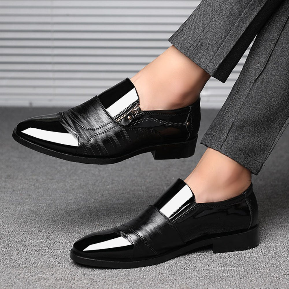 Fashion Business Dress Shoes Pointed Head Men Shoes A Pedal Casual Lazy Side Zipper Men Shoes