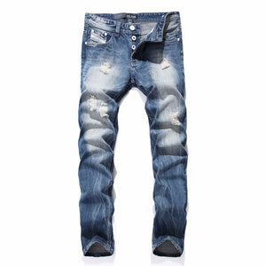 2017 night Club White Button Jeans Men Denim Blue Ripped Jeans Trousers 29-40 High Quality Cotton Mens Brand Dsel Jeans - Bara Jan Store