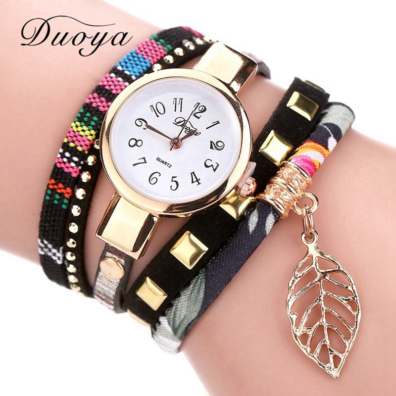 Fashion Ladies Watches Women Luxury Leaf Fabric Gold Wrist For Women Bracelet Vintage Sport Clock Watch Christmas Gif - Bara Jan Store