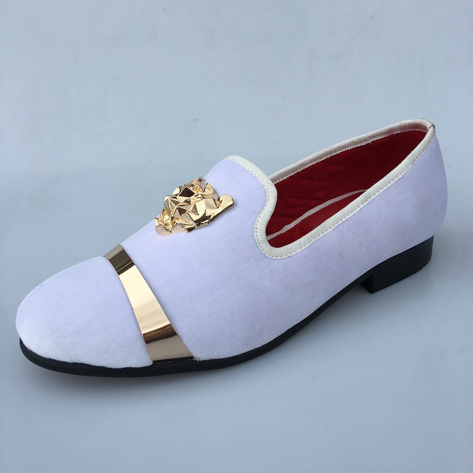 2b733964030a ... New Handmade Men Velvet Loafers Shoes White Slippers with Gold Buckle  Wedding and Party Dress Shoes