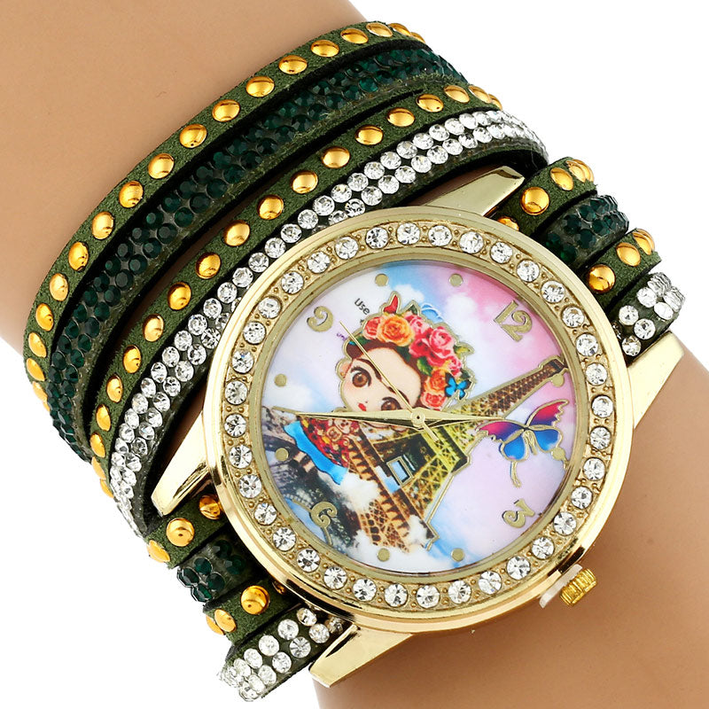 Gnova Platinum TOP Large Strap BIG Dial Rhinestone Rim Frida Paris Fashion woman wristwatch bracelet watch colors Student - Bara Jan Store