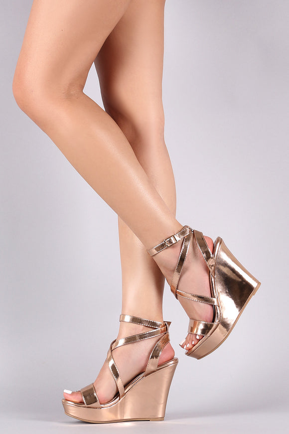 Metallic Crisscross Ankle Strap Wedge