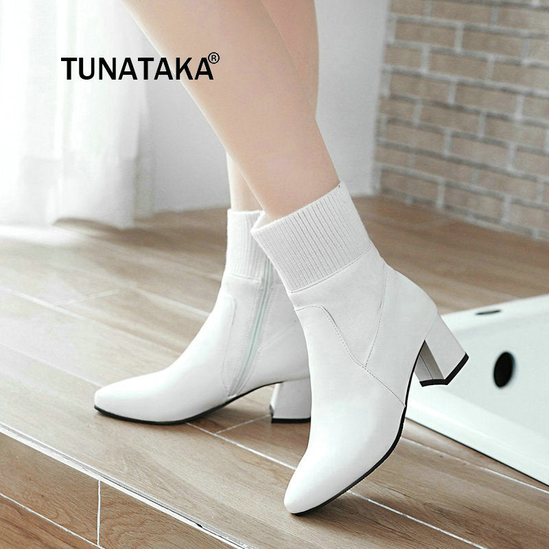 Women Comfortable Low Heel With Side Zipper Ankle Boots Fashion Pointed Toe Keep Warm Winter Shoes Black Pink Gray White