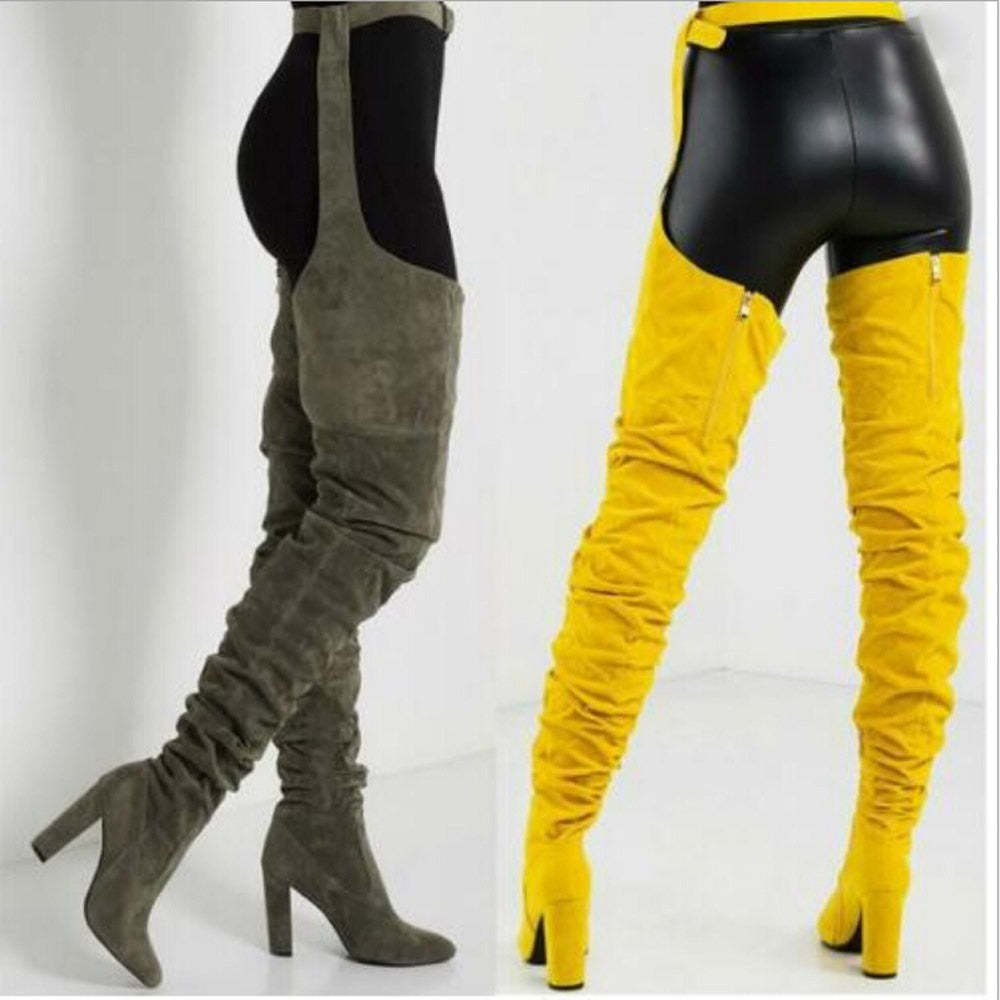 Women Over Knee Long Boots Pointed Belt Thigh High Boots High Heels Long Boots Woman winter Lady Boots Women Fashion Hotselling