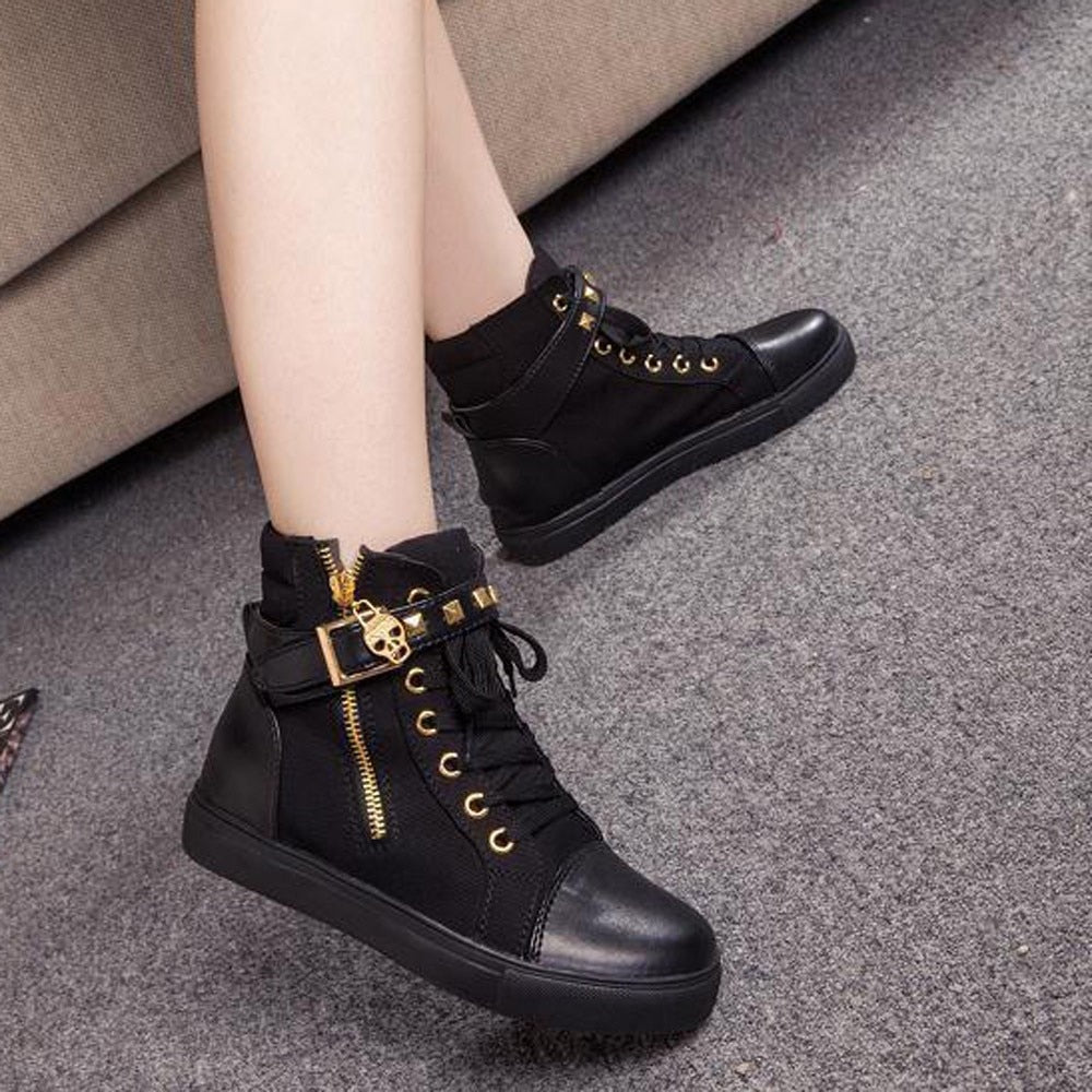 YOUYEDIAN Fashion High-Top Solid Color Zip Sneakers Shoes Flat Canvas Women Shoes Casual Shoes Solid Fashion Loafer Female#j4s