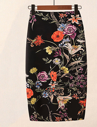 Women's Going out Basic / Chinoiserie Bodycon Skirts - Floral Black