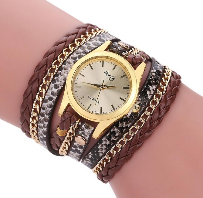 Luxury Brand Leather Quartz Watch Women Ladies Casual Fashion Bracelet Wrist Watch Clock relogio feminino leopard braided female - Bara Jan Store