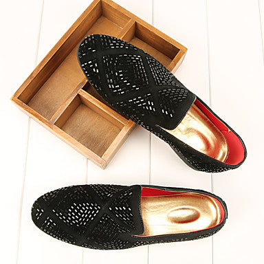 Men's Leather Spring / Fall Comfort Loafers & Slip-Ons Walking Shoes Gold / Black / Sparkling Glitter / Party & Evening