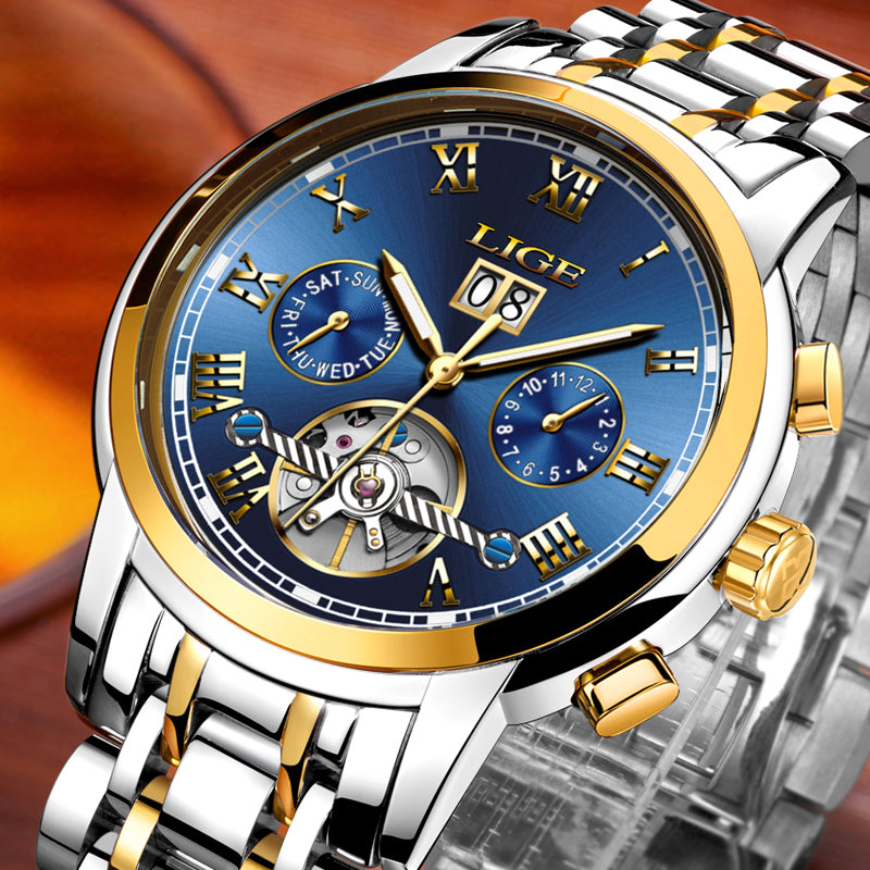 LIGE Men Watches New Top Brand Luxury Automatic Mechanical Watch Business Waterproof Sport Clock Men Watches Relogio Masculino - Bara Jan Store