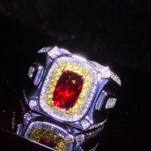 18k yellow gold real diamond natural Ruby gold ring