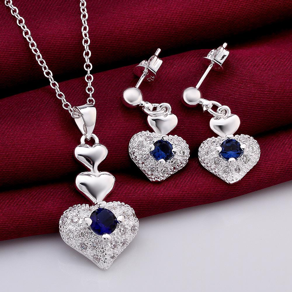 100% FREE Blue Crystal Heart Necklace Earrings Mothers Day Gifts