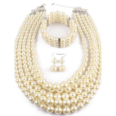 Women's Statement Jewelry Casual Evening Party Imitation Pearl Circle Earrings Necklaces Bracelets - Bara Jan Store