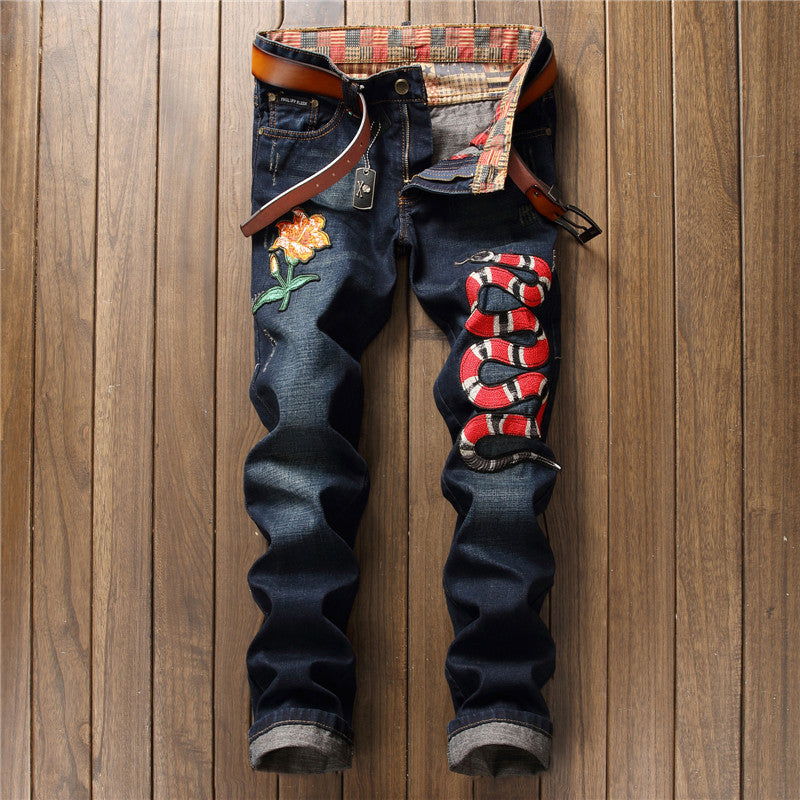 BIEPA Jeans Mens Clothing Design Embroidered Floral Snake Denim Jeans Chic Men Animal Pattern Straight Biker Jeans - Bara Jan Store