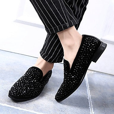 Men's Leather Fall / Winter Casual / Comfort Loafers & Slip-Ons Black / Sparkling Glitter / Party & Evening
