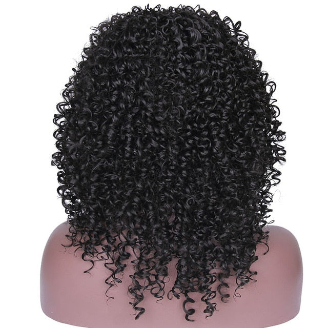 "I's a wig 12"" Long Hair Synthetic  Ombre Black Brown Golden Wigs for Women Kinky Curly Afro Wig"