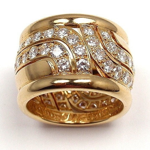 Big Rings for Men Women Iced Out Bling Square Ring Hip Hop Micro Pave Rhinestone Ring Gold Color