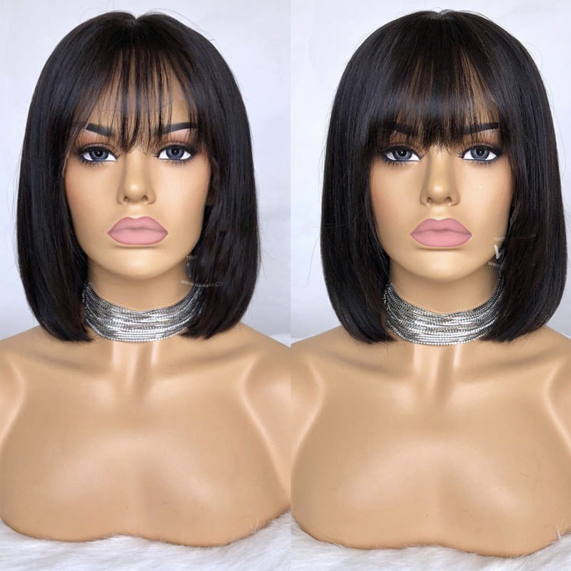 Bob Cut 13X6 Lace Front Short Human Hair Wigs With Bangs Pre plucked Brazilian Remy Straight Hair