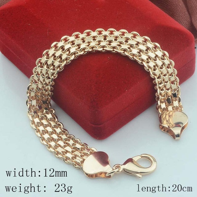 10MM 12MM Big Wide For Women Men Bracelet 585 Rose Gold Color (No red box)