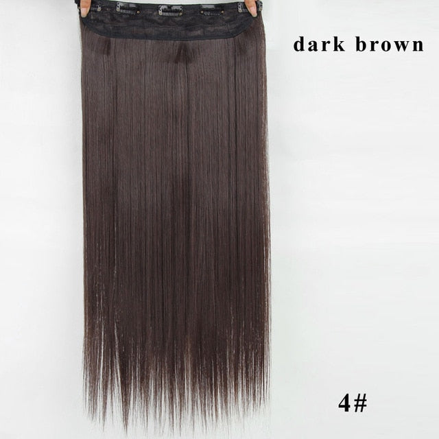 5 Clips Synthetic Hair Long Straight Blonde Clip In Hair Extensions False Hair Brown Black Hair Pieces