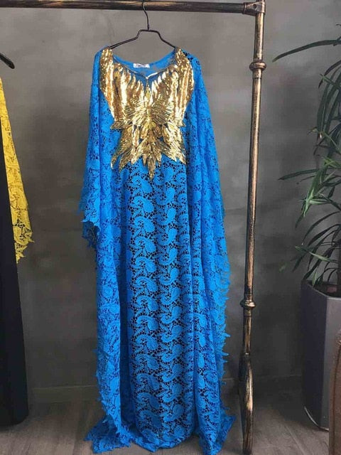 Super size bust 140 cm New African women's Dashiki fashion Water-soluble lace loose skirt with beaded embroidery long dress
