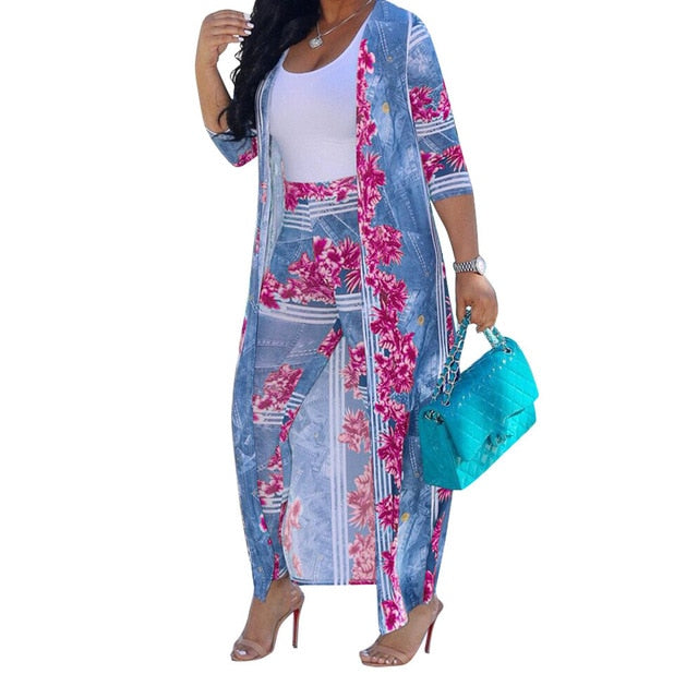 Summer 2 Piece Set Women Cardigan Long Trench Tops And Bodycon Pant Suit