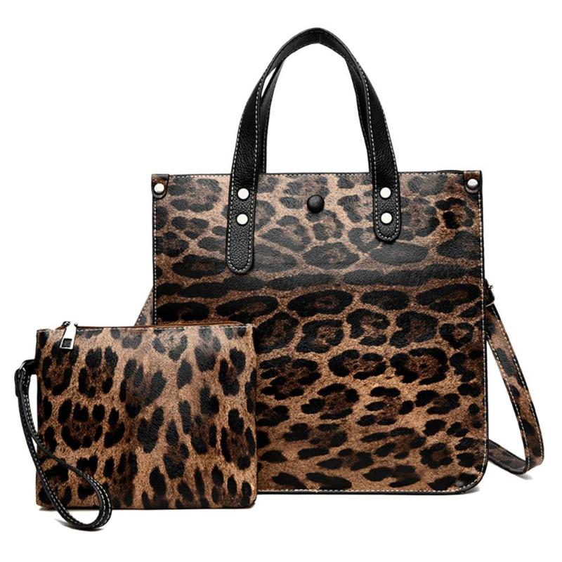 2pcs Leopard Pattern Leather Handbags Women Composite Tote Bag Shoulder Messenger Square