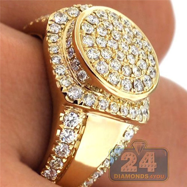 Gold Color Puffed Marine Micro Paved CZ Stone Rings For Men Women Hip Hop Bling Round Ring