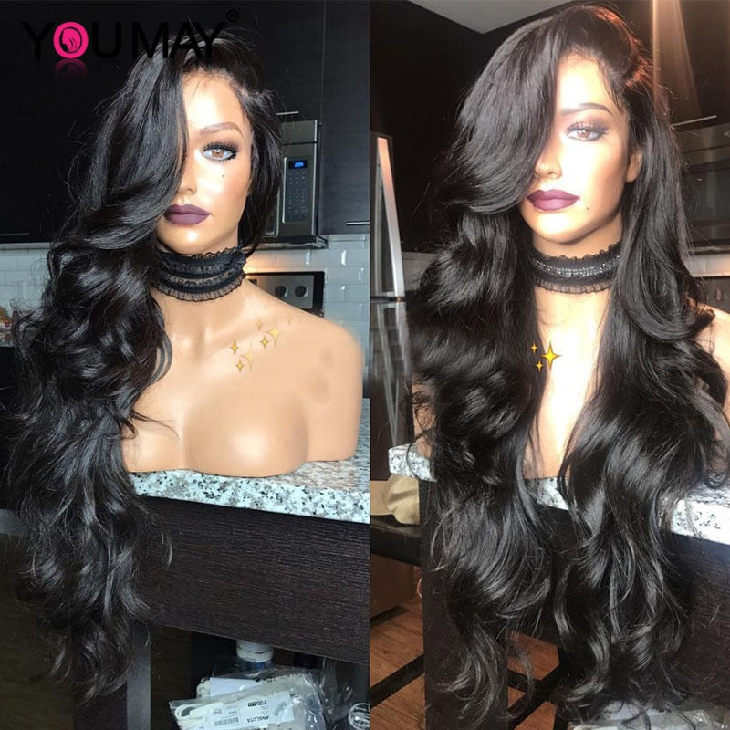 13x6 Lace Front Human Hair Wigs For Women 250 Density Brazilian Body Wave 360 Lace Frontal Wigs Pre Plucked Baby Hair