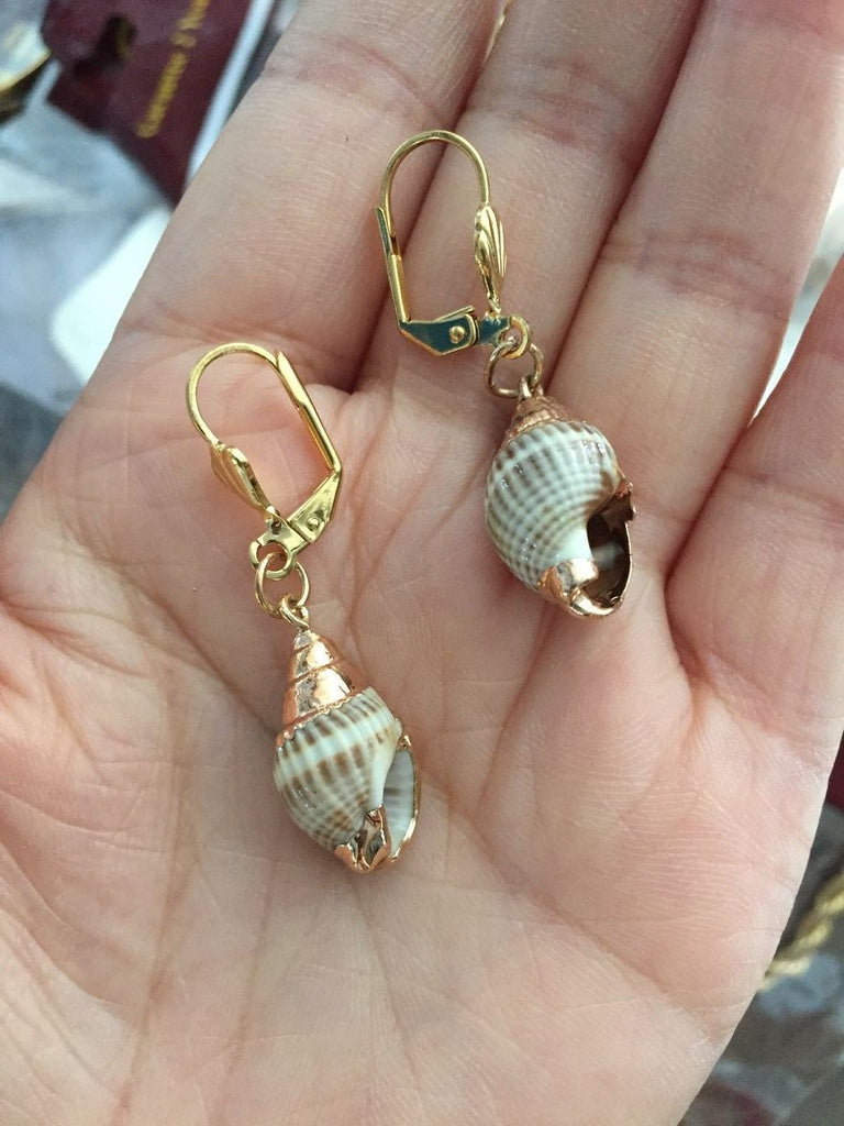 Gold/Real Shell dangle Earrings Gifts Jewelry