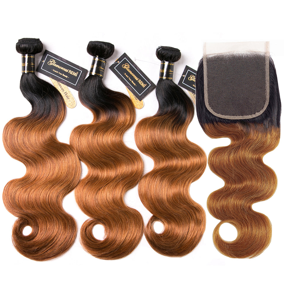 Ombre Brazilian Human Hair Weave Bundles With Lace Closure Body Wave 2 Tone Ombre T1B/27 Remy Ombre Human Hair Extensions 2/3+1