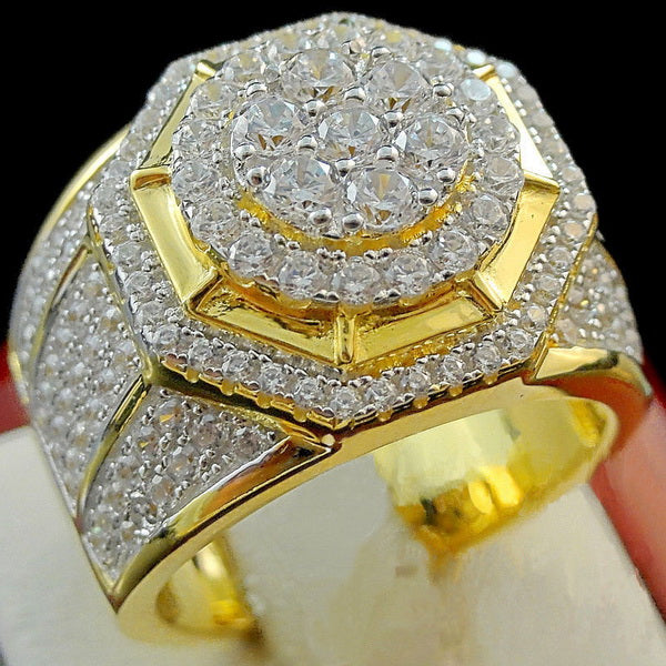 Luxury Golden Puffed Marine Micro Paved CZ Rings For Men Women Gifts
