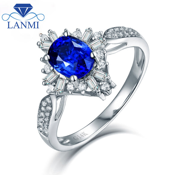Dual Style Natural Blue Sapphire Rings Real 14K White Gold Round Baguette Diamond for Mothers Day Jewelry Gift