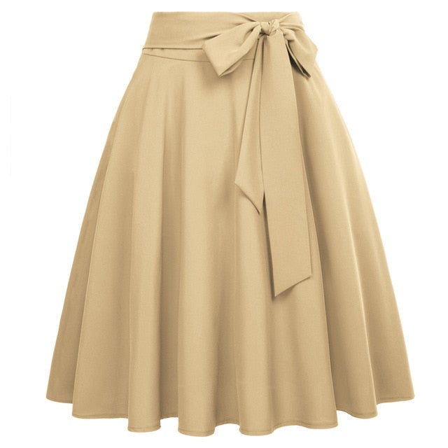 Women Solid Color High Waist skirts Self-Tie Bow-Knot Embellished big swing keen length