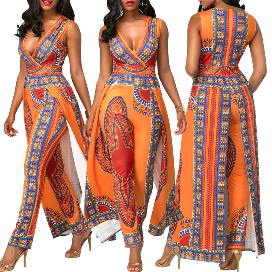 African Dresses Explosion Models Fashion Printing Orange Ethnic Pants