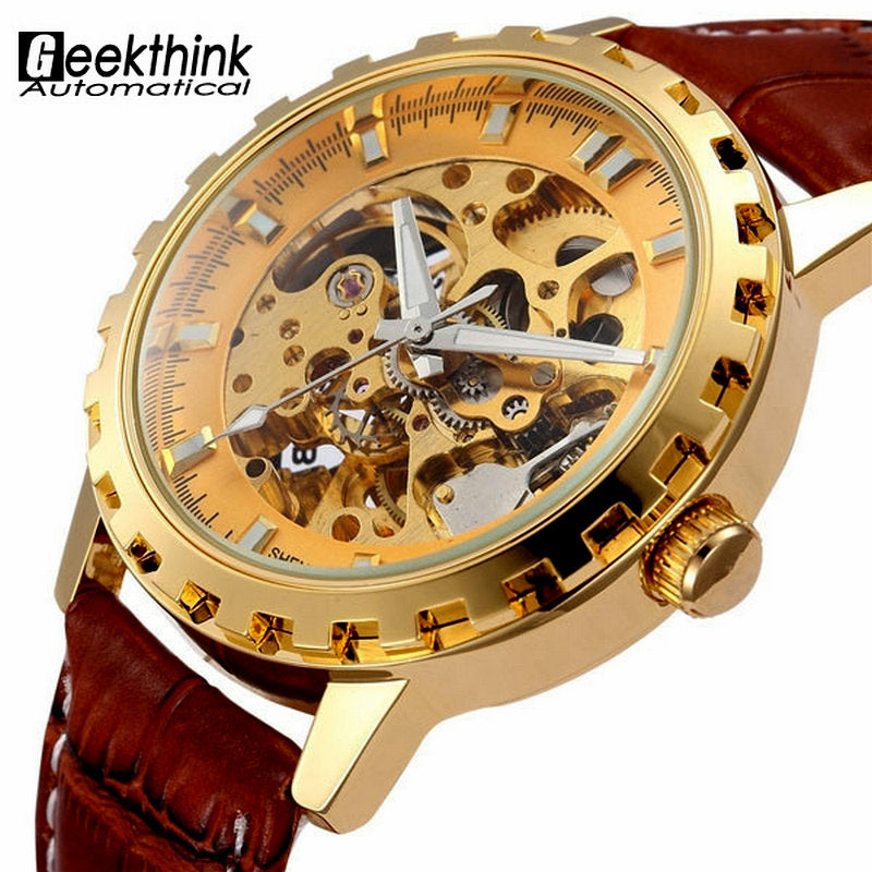 Luxury Gold Men Leather Strap Casual Automatic Mechanical Watche - Bara Jan Store
