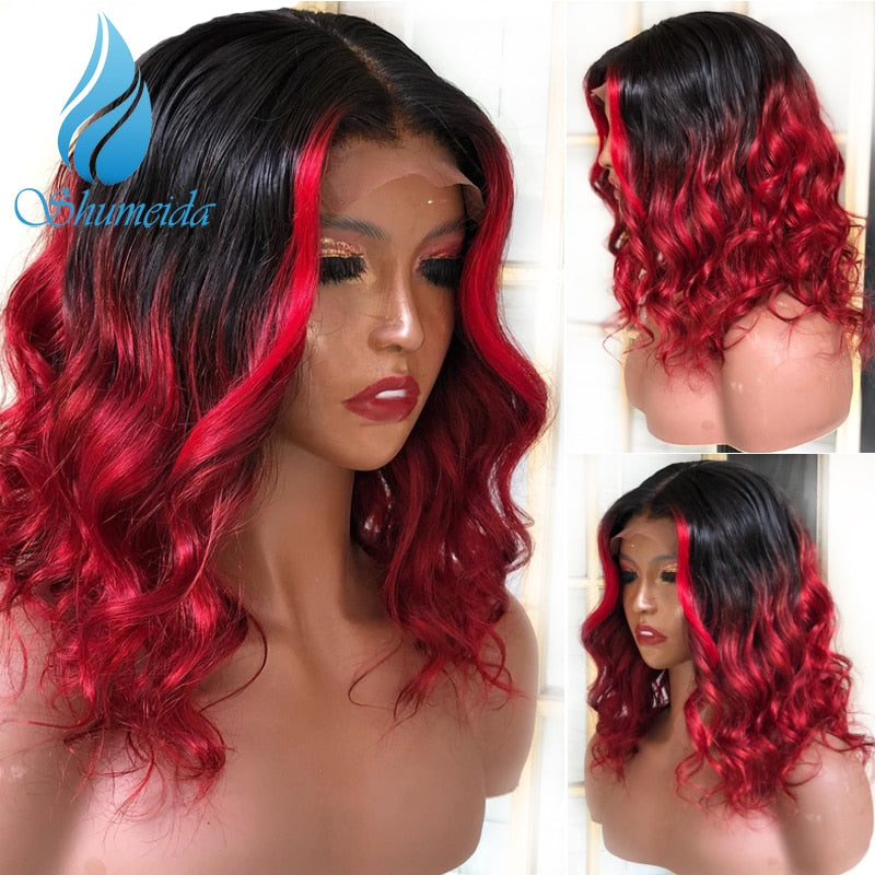 SHD 13*6 Lace Frontal Wigs Brazilian Remy Human Hair Highlight Red Color Wigs Loose Wave Glueless Lace Front Wig with Baby Hair
