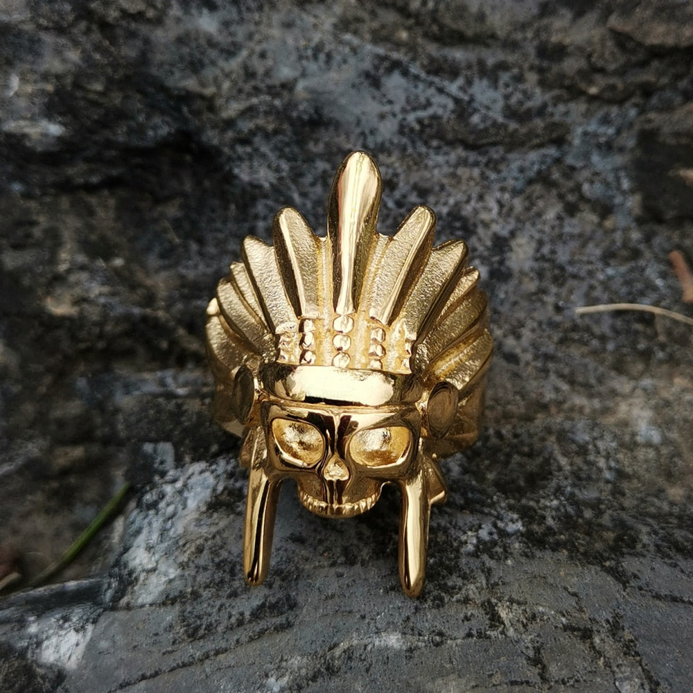 High Quality Gold Color 316L Stainless Steel African Tribal Chief Chieftain Skull Rings Mens Womens