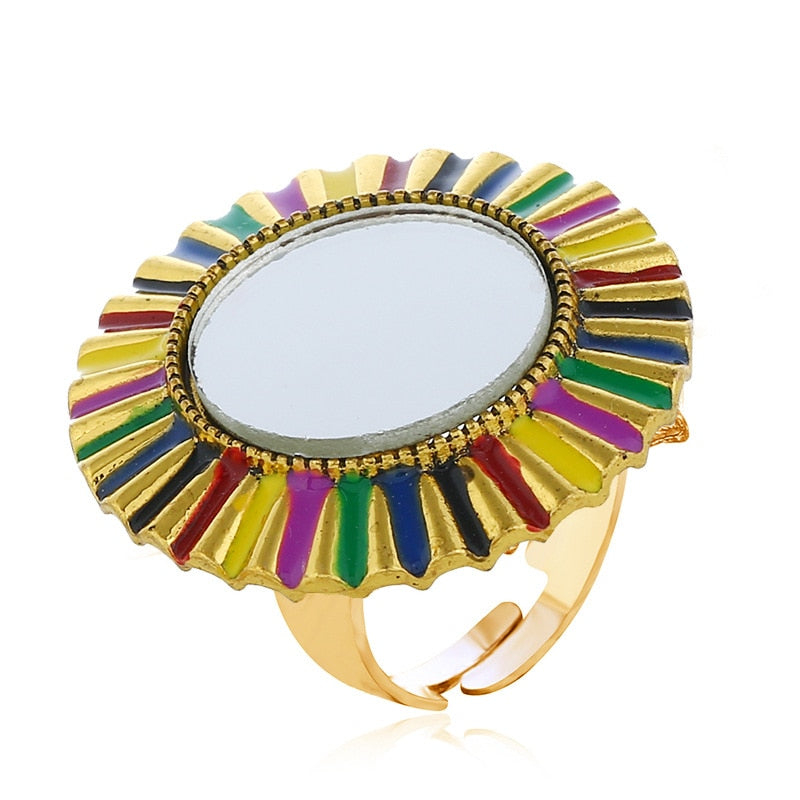 Gypsy Adjustable Sunflower Shape Big Gold Mirror Rings for Women