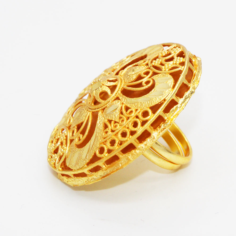 New Big Ethiopian Ring Women Gold Color Eretrian Rings Girl Jewelry