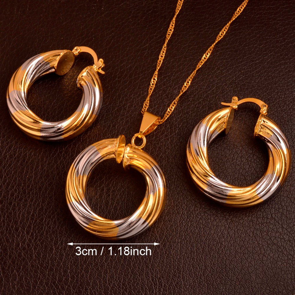 Round Charm Pendant Necklace Earrings set,Two Tone Gold/Silver Color