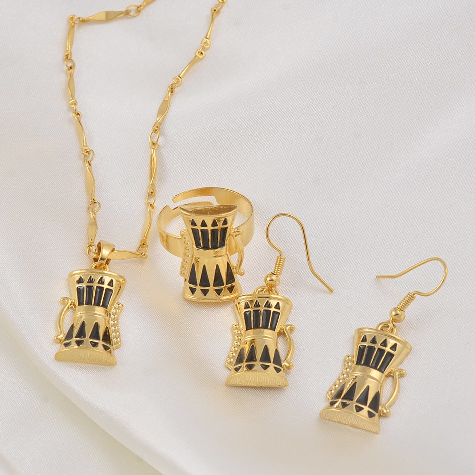 Drum Jewelry sets Papua New Guinea Necklace Earrings Ring Sets