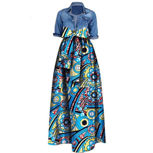 News Wax Fabric Skirts Traditioanal Dashiki Bazin Plus Size Party Fashion